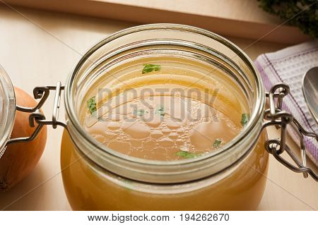 Bone Broth Made From Chicken In A Glass Jar