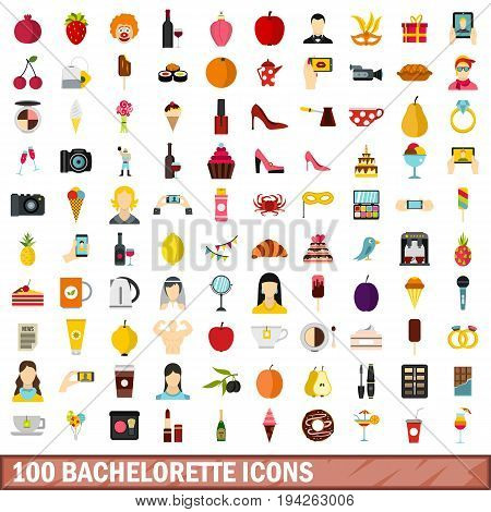 100 bachelorette icons set in flat style for any design vector illustration