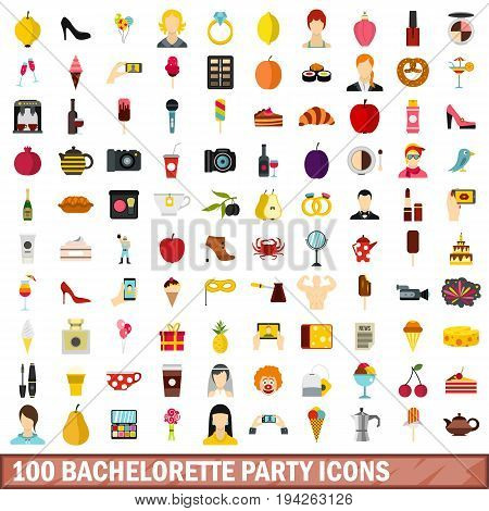100 bachelorette party icons set in flat style for any design vector illustration