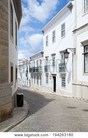 Walking In The Walled Old Town Of Faro (portugal)
