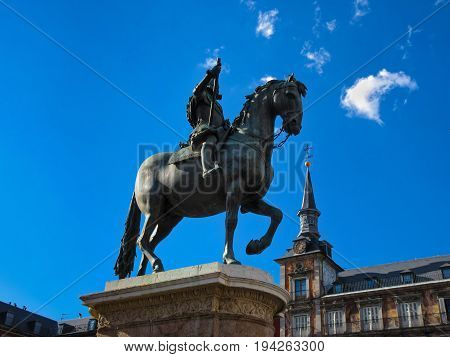 From Plaza Mayor with a bronze statue of King Philip III at the center of the square