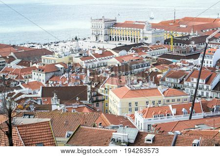 Praca Do Comercio From Castelo De Sao Jorge (portugal)