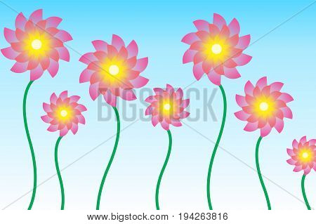 Abstract Flower Illustration Seamless Designs on Colorful BG