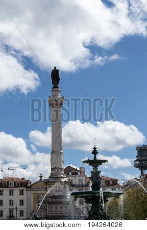 Monument To Pedro Iv At The Rossio Square (lisbon, Portugal)
