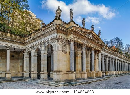 The Mill Colonnade is a large colonnade containing several hot springs in the spa town of Karlovy Vary.The Mill Colonnade is supported by 124 columns.