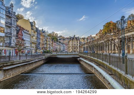 Embankment of Tepla river in Karlovy Vary Czech republic