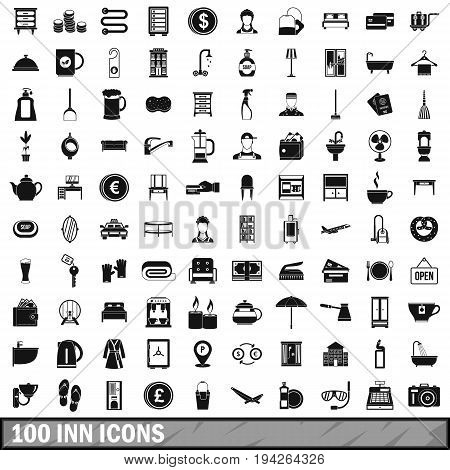 100 inn icons set in simple style for any design vector illustration