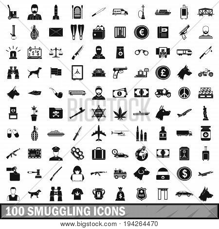 100 smuggling  icons set in simple style for any design vector illustration
