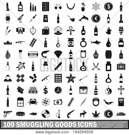 100 smuggling goods icons set in simple style for any design vector illustration