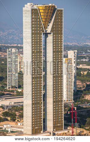 BENIDORM SPAIN - SEPTEMBER 11 2016: The Intempo building 192-metre-high skyscraper building in Benidorm Spain