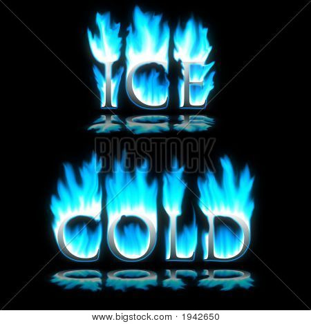 Ice & Cold Text In Blue Freezing Fire