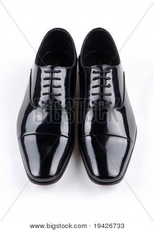 black shiny man's shoe