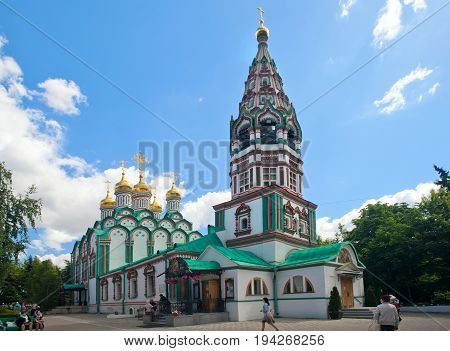 Moscow Russia - May 27 2017:Church of Saint Nicholas in Khamovniki is a late 17th century parish church of a former weavers sloboda in Khamovniki District of Moscow.