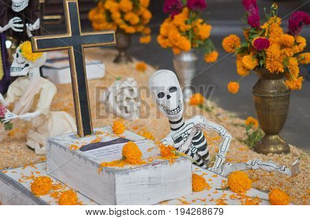 Mexican Sculptures Of A Skeletons, Day Of Dead, Mexico City