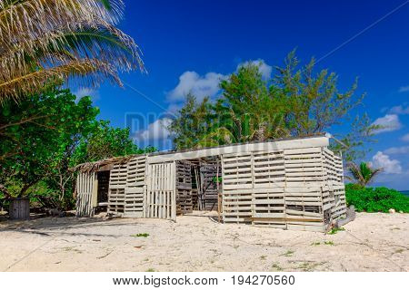 Derelict shack made of wooden pallets on a Caribbean beach, Grand Cayman