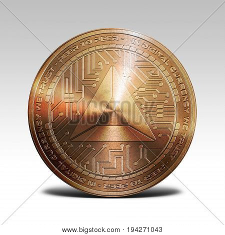 copper basic attention token coin isolated on white background 3d rendering illustration