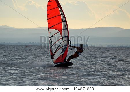 Windsurfing on Lake Neusiedl in Burgenland - Austria