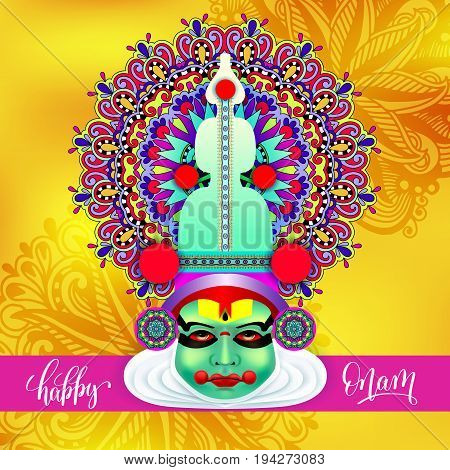 indian kathakali dancer face decorative modern vector illustration with hand lettering for happy onam holiday on abstract floral pattern