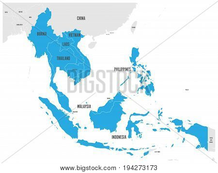 ASEAN Economic Community, AEC, map. Grey map with blue highlighted member countries, Southeast Asia. Vector illustration.