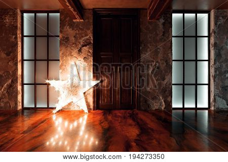 A photo of the interior of an old industrial building recovered. Made modern renovation, loft-style. Self-leveling floor. star light. the mixture of warm and cold light