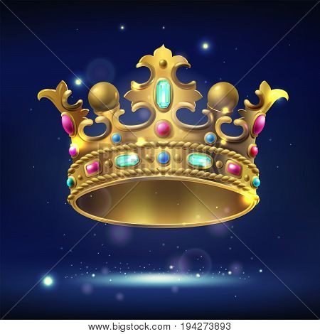 realistic gold crown with precious stones on a dark luminous background, vector illustration