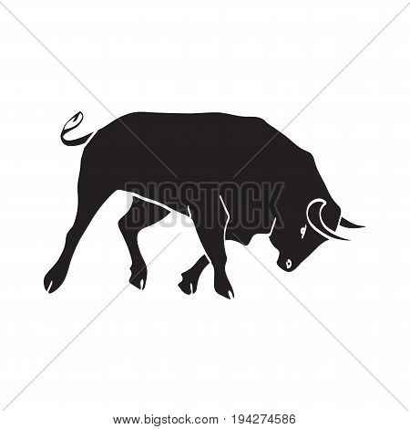 Fiesta Spain banner, vector bull illustration. Bull black running isolated on white. Abstract Festival symbol For cards, brochure, poster, banner design.