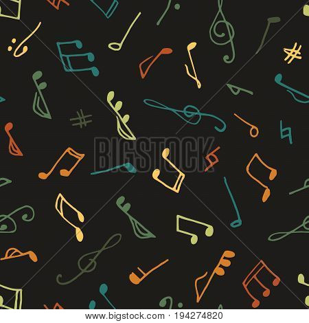 Varicolored seamless music pattern in doodle style on black background. Hand drawn musical theme with clef and note for background, textile, paper packaging, wrapping paper. Vector illustration.