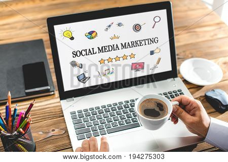 Social Media Marketing Concept On Laptop Monitor