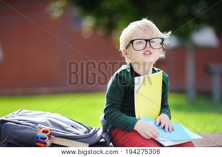 Cute Little Schoolboy Studying Outdoors On Sunny Day. Back To School Concept.