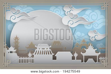 China town village on blue background with sky sun clouds. Oriental vintage pattern frame for banner poster or chinese new year greeting card paper cut out art style vector illustration