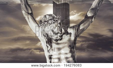 Religious christian background artwork with jesuschrist on croos against sky background