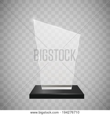 Glass trophy award vector illustration. Vector illustration of shiny award. Glossy transparent trophy. For you design.