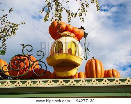 Oct 30 2014: Anaheim,CA Disneyland park in Anaheim. Decorations at Disneyland for Halloween with autumn colors and pumpkins.