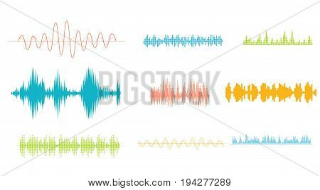 Save Download Preview Vector Sound equalizer colorful musical concept. Audio wave digital design waveform