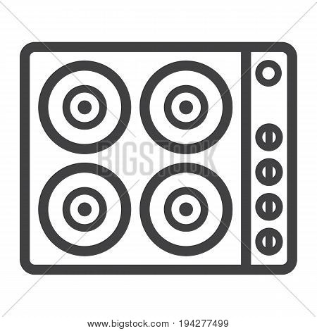 electric hot plate line icon, electrical stove and appliance, vector graphics, a linear pattern on a white background, eps 10.
