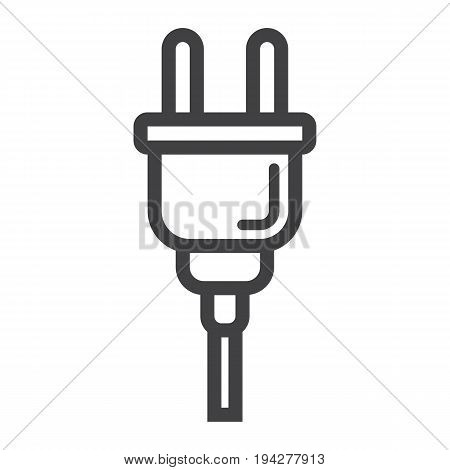 Electric plug line icon, power and appliance, vector graphics, a linear pattern on a white background, eps 10.
