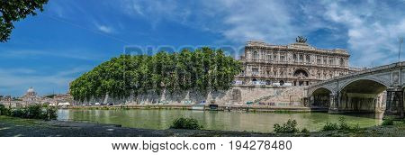 ROME ITALY-JUNE 12017:Panoramic view with Palace of Justice and Corte di Cassazione courthouse building.Built between 1889 and 1911 by architect Guglielmo Calderini and engineer Gioacchino Luigi Mellucci.