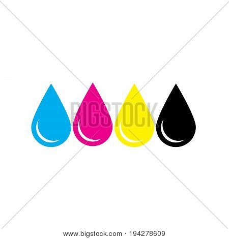 Ink drops in CMYK colors - cyan, magenta, yellow, key. Print design element theme. Simple flat vector illustration.