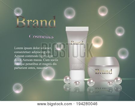 The Design Of Cosmetics Brand, Cream And Gel With Delicate Pearls On A Dark Background With Light Ba
