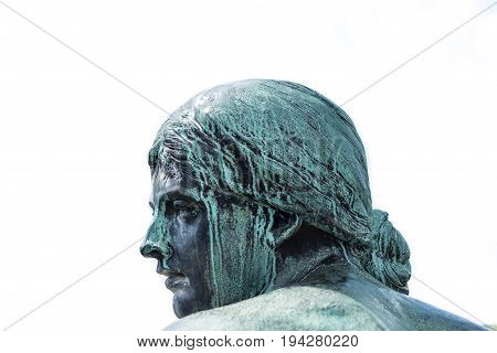 Face Of A  Female Bronze Statue - Portrait Of Woman Sculpture Isolated On White Background