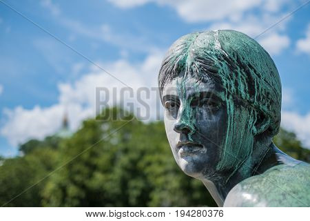 Face Of A  Female Bronze Statue - Portrait Of Woman Sculpture