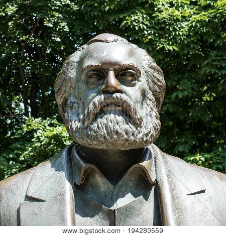 Portrait Sculpture Of Karl Marx  Near Alexanderplatz In Berlin