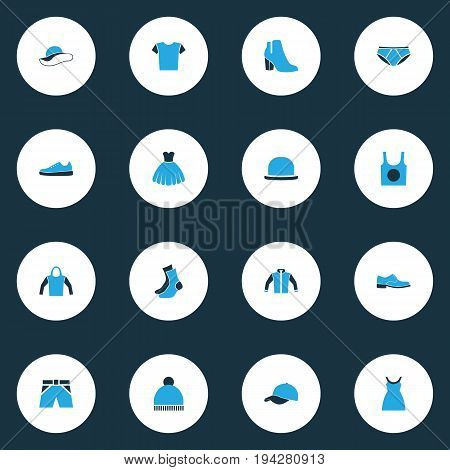 Garment Colorful Icons Set. Collection Of Man Footwear, Panties, Cap And Other Elements. Also Includes Symbols Such As Ski, Half-Hose, Gumshoes.