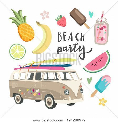 Set of cute summer icons: food, drinks Bright summertime poster. Collection of scrapbooking elements for beach party.