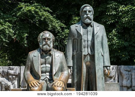 Sculpture Of Karl Marx And Friedrich Engels Near Alexanderplatz In Berlin