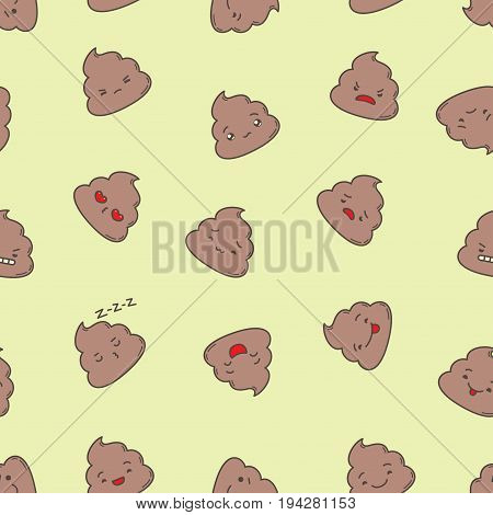 Kawaii poop seamless pattern. Clipping mask used.