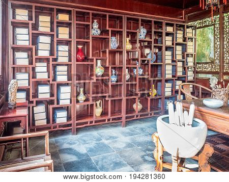 Suzhou, China - Nov 5, 2016: Master of Nets Garden (Wang Shi Yuan), featuring classical Chinese study and calligraphy room.