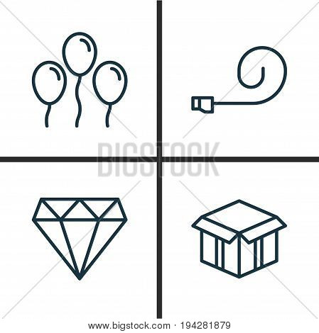 Holiday Icons Set. Collection Of Air Ball, Open Cardboard, Celebrate Whistle And Other Elements. Also Includes Symbols Such As Diamond, Box, Brilliant.