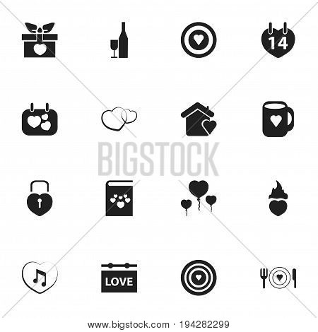 Set Of 16 Editable Love Icons. Includes Symbols Such As Cap, Dartboard, Romance And More. Can Be Used For Web, Mobile, UI And Infographic Design.