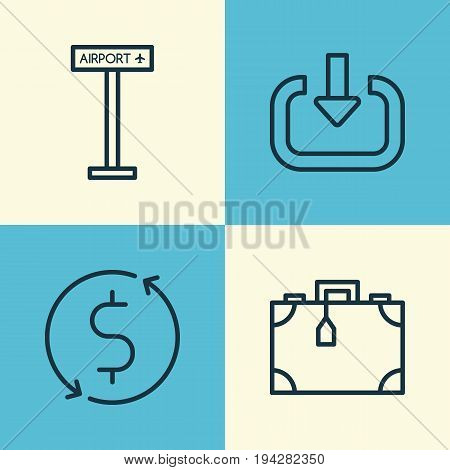 Transportation Icons Set. Collection Of Enter, Money Trasnfer, Airplane Information And Other Elements. Also Includes Symbols Such As Briefcase, Enter, Suitcase.
